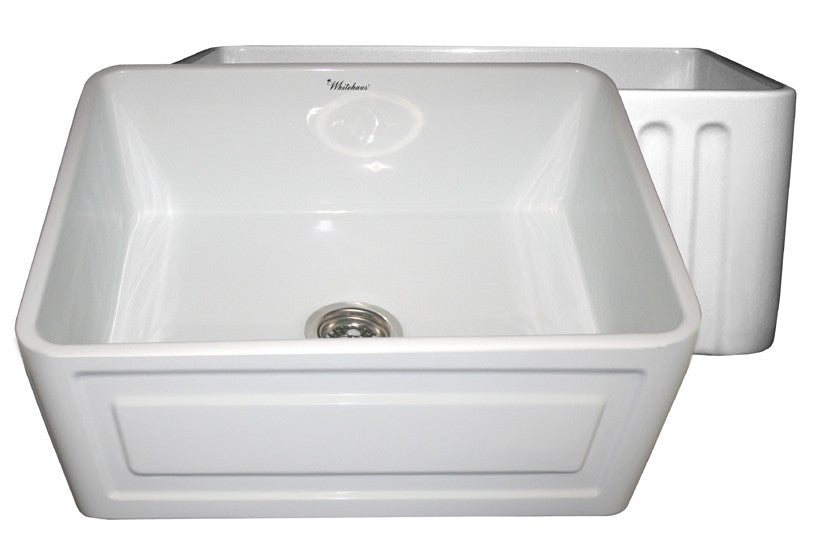 Reversible series fireclay sink with Raised Panel front apron on one side and fluted front apron on other