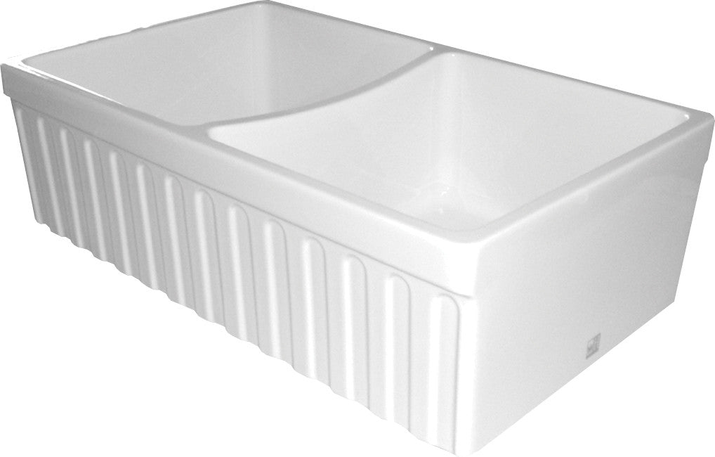 "Quatro Alcove reversible double bowl fireclay sink with fluted front apron and 2"" lip one side and 2 ½ inch on other"