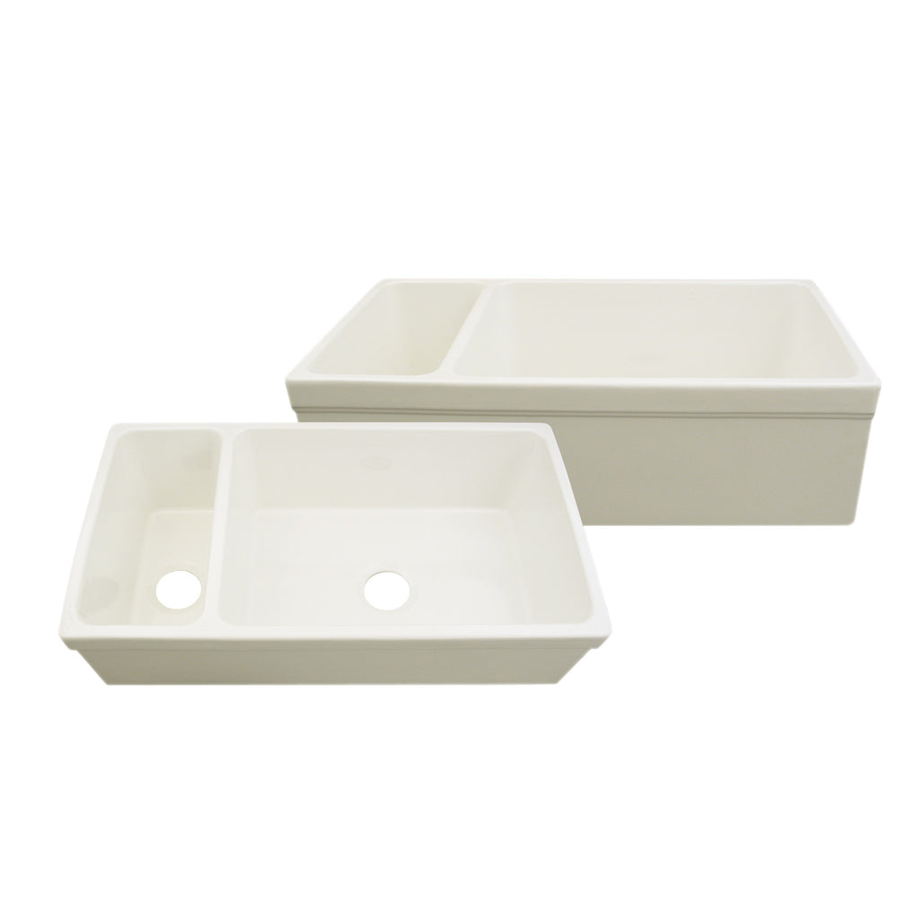 Large Quatro Alcove reversible fireclay sink and small bowl with decorative 2 ½ inch lip on both sides
