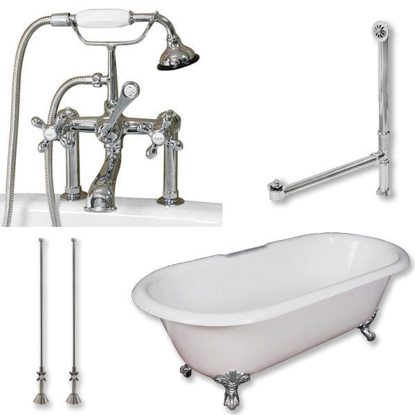 "Cast Iron Double Ended Clawfoot Tub, British Style, Polished Chrome, 60""x30"""