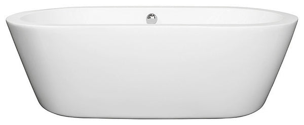 "Mermaid 71"" Freestanding White Bathtub, Polished Chrome Drain and Overflow Trim"