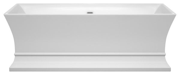 "Jamie 67"" Freestanding White Bathtub, Polished Chrome Drain and Overflow Trim"