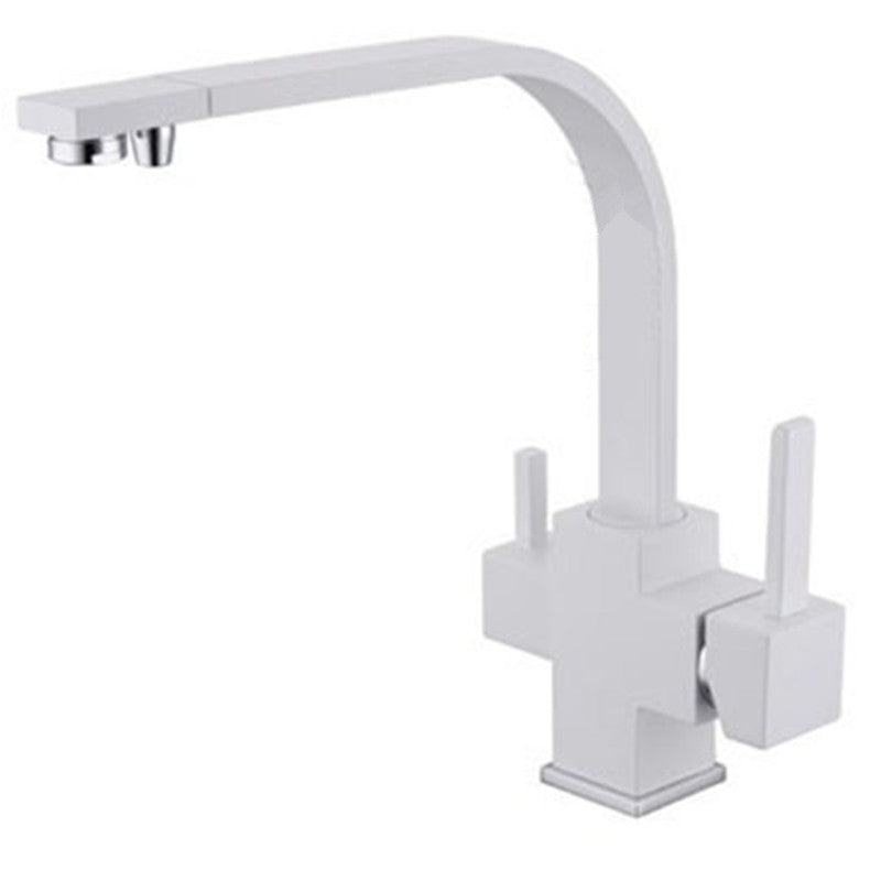 3 Way Osmosis Water Filter Swivel Square Style Kitchen Faucet