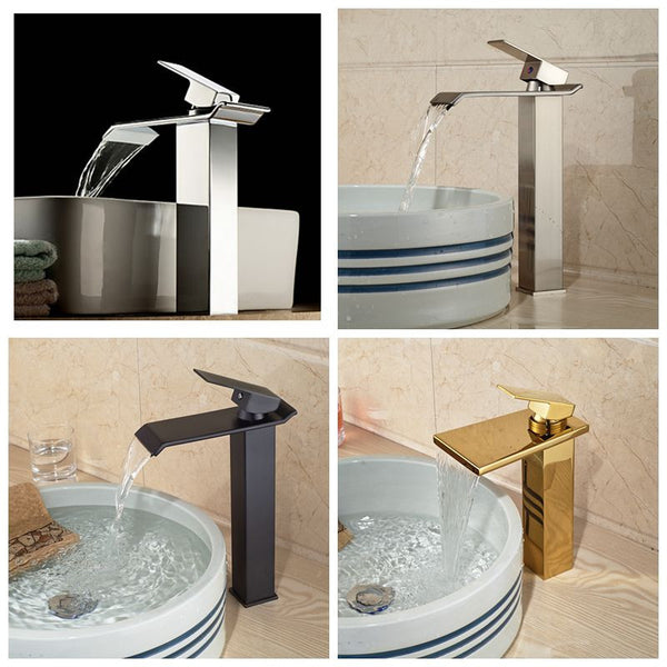 Square Tall Waterfall Spout Bathroom Faucet