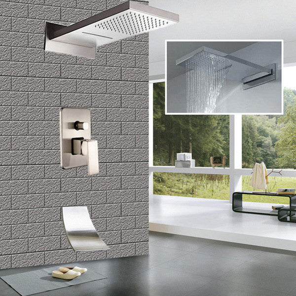 Brushed Nickel Rain Waterfall Shower Set Wall Mounted Bath and Shower Mixers