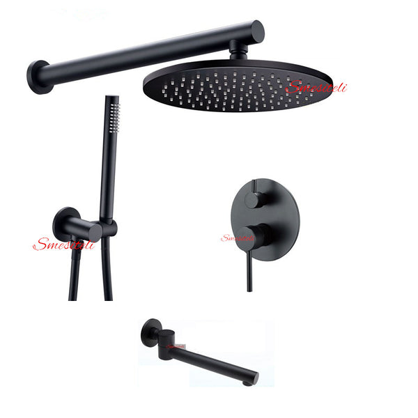 Matte Black Bathroom Wall Mount 3-Function Shower System 8 Inch Rain