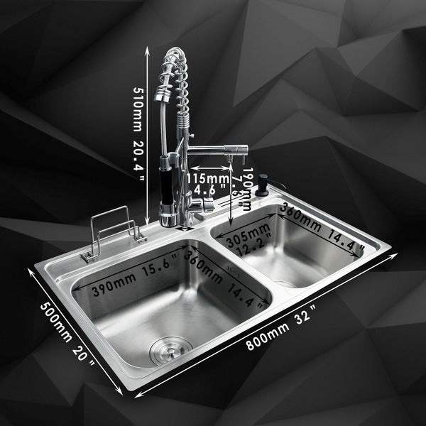 80x50x21cm Stainless Steel Kitchen Sink Faucet Set Double Bowl Undermount