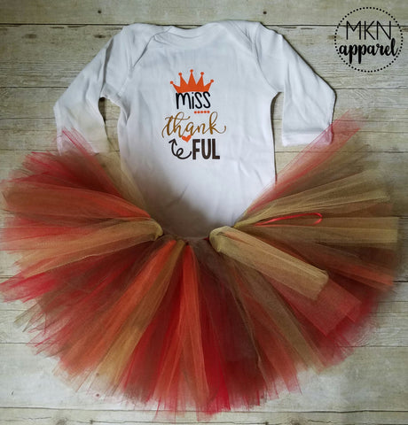 Baby Thanksgiving Outfit, Baby Thanksgiving Tutu, Miss Thankful Shirt, Baby Thanksgiving Shirt, Thanksgiving Tutu