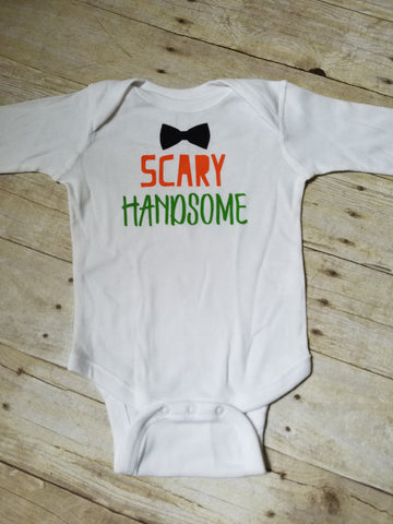 Baby Halloween Shirt, Scary Handsome Bodysuit, Baby Boy Halloween, 1st Hallowen