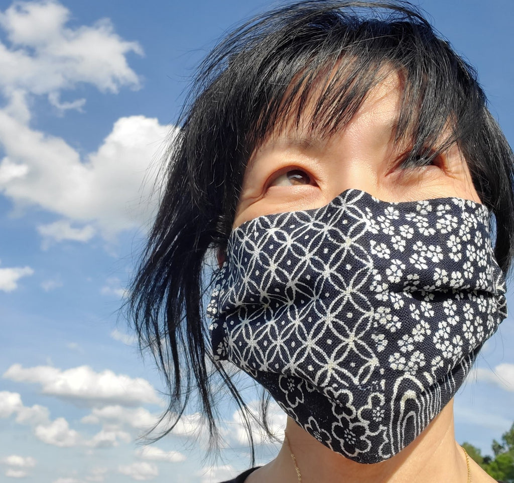 Origami mask indigo with filter japanese fabric comfortable handmade usa breathable in stock mask for men women kids