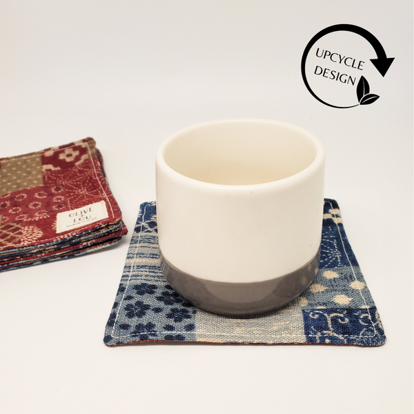 Origami Tea Cloth coasters denim wine japanese textile linen modern coaster kitchen decor fabric handmade boro unique japan mask