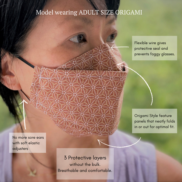 Origami 3D Japanese Pleated Face Mask in Faded Denim No Fog Mask nose wire filter pocket Mask for Men Women Kids Model
