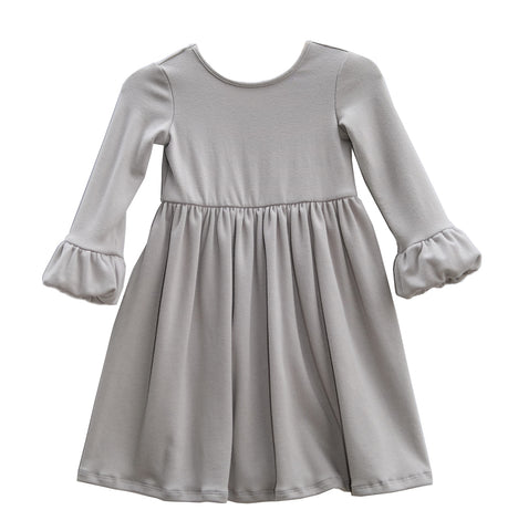 Chloe bubble sleeve dress girls kids toddler silver grey sweet winter clothing clothes outfit cute