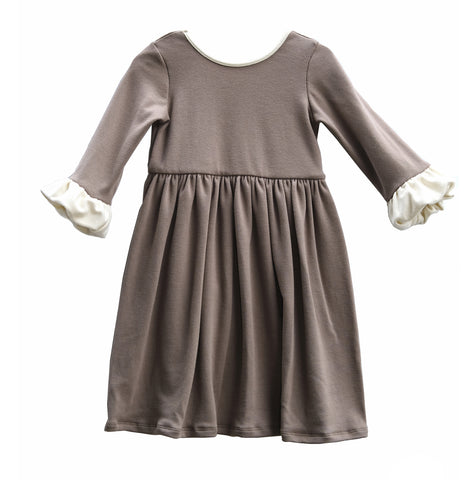 Chloe bubble sleeve dress girls kids toddler taupe khaki sweet winter clothing clothes outfit cute