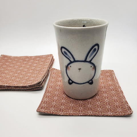 Origami Tea Cloth coasters peach rose japanese textile linen modern coaster kitchen decor fabric handmade sustainable unique japan mask
