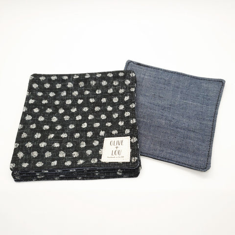 Japanese Cloth Coasters in Black Polka Dot + Denim
