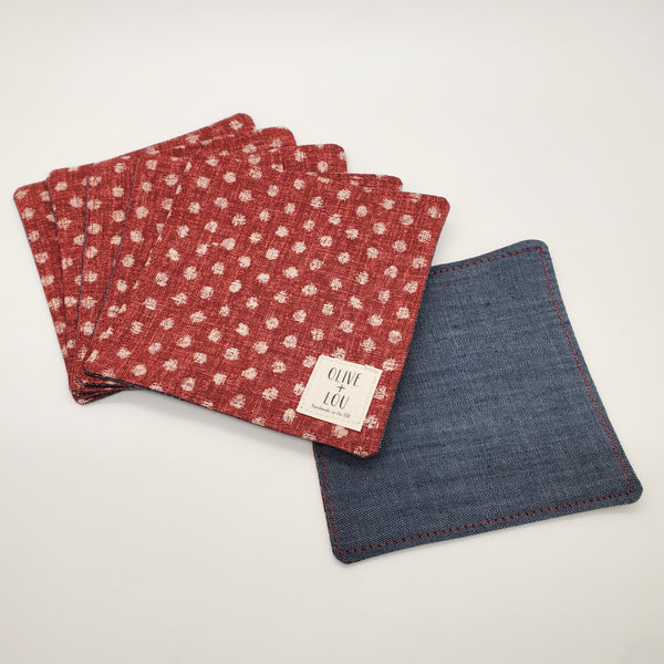 Origami Tea Cloth coasters denim red dots japanese textile linen modern coaster kitchen decor fabric handmade unique japan mask