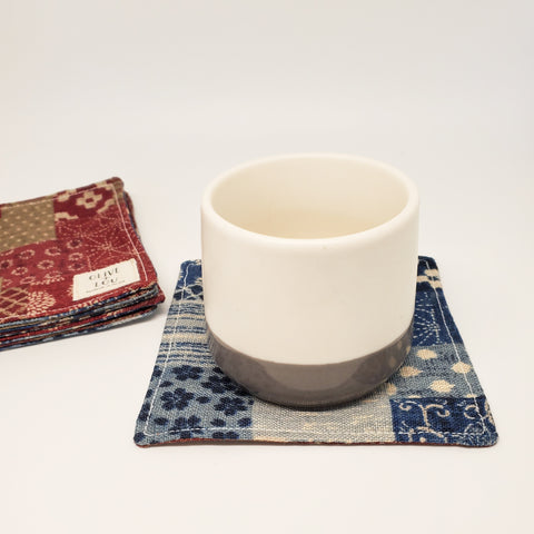 Japanese Cloth Coasters in Boro Patchwork Denim + Wine
