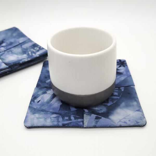 Origami Tea Folded Cloth coasters cotton ocean blue  modern coaster kitchen decor fabric handmade sustainable unique