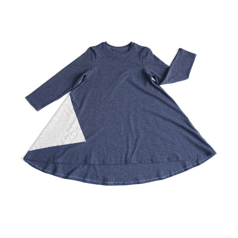Toddler Girls Kids / Triangle Dress in Heather Blue
