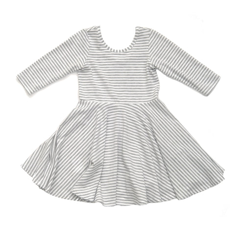 Toddler Girls Kids / Skater Dress in Grey White Stripe