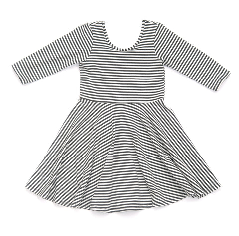 Toddler Girls Kids / Skater Dress in Charcoal White Stripe