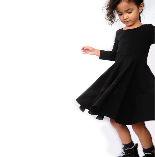 Twirl Dress Girls Clothes Toddler Baby Girl Black Jersey