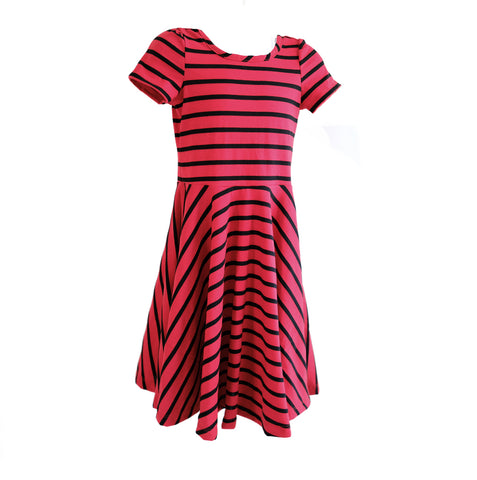 Skater Dress in Red Black Stripe - OLIVE + LOU