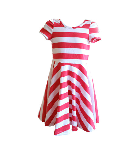 Skater Dress in Pink White Stripe - OLIVE + LOU