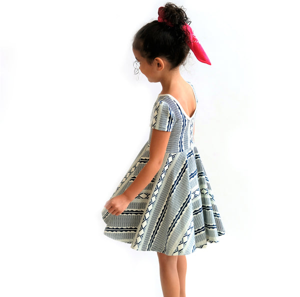 Short Sleeve Skater Dress in Blue Tribal