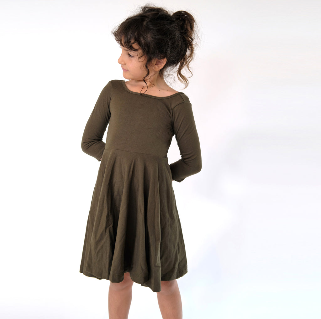 Girls kids Olive Green fall dress toddler fashion twirl twirling spin circle handmade