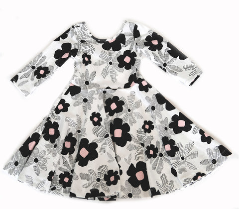 Girls kids black white pink floral fall dress toddler fashion twirl twirling spin circle handmade