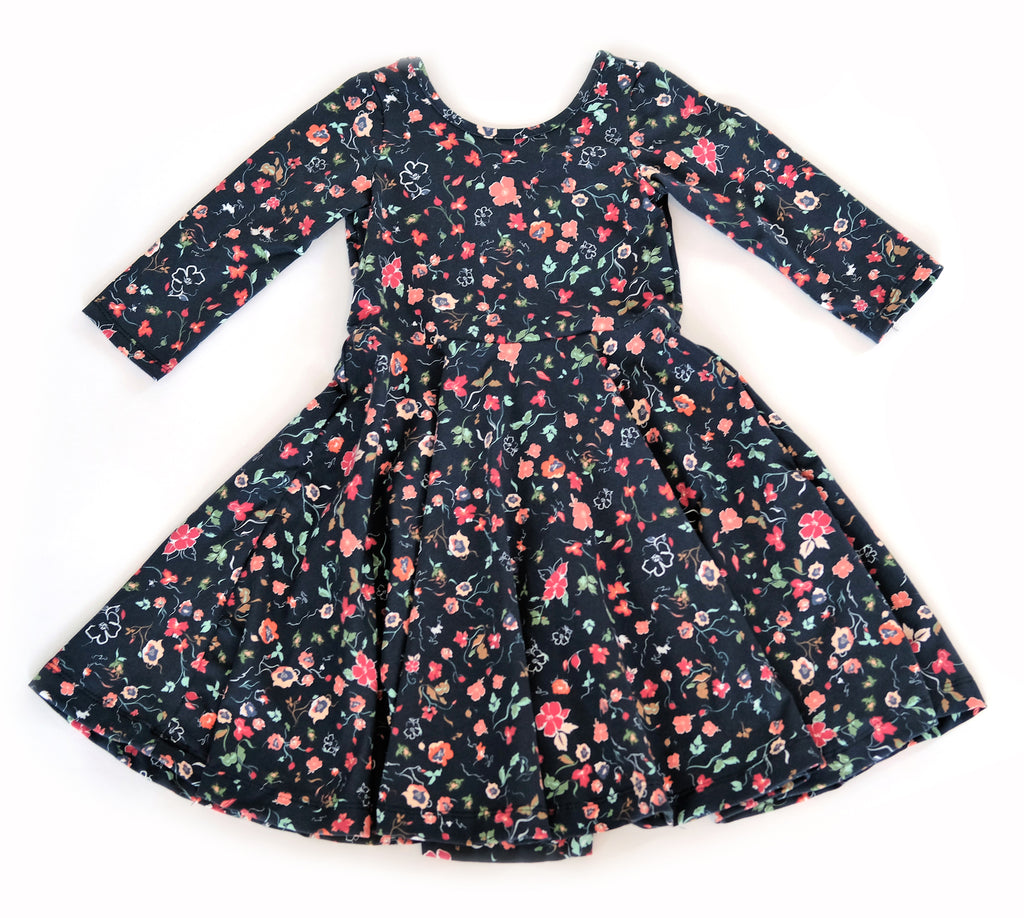 Girls kids meadow floral fall dress toddler fashion twirl twirling spin circle handmade