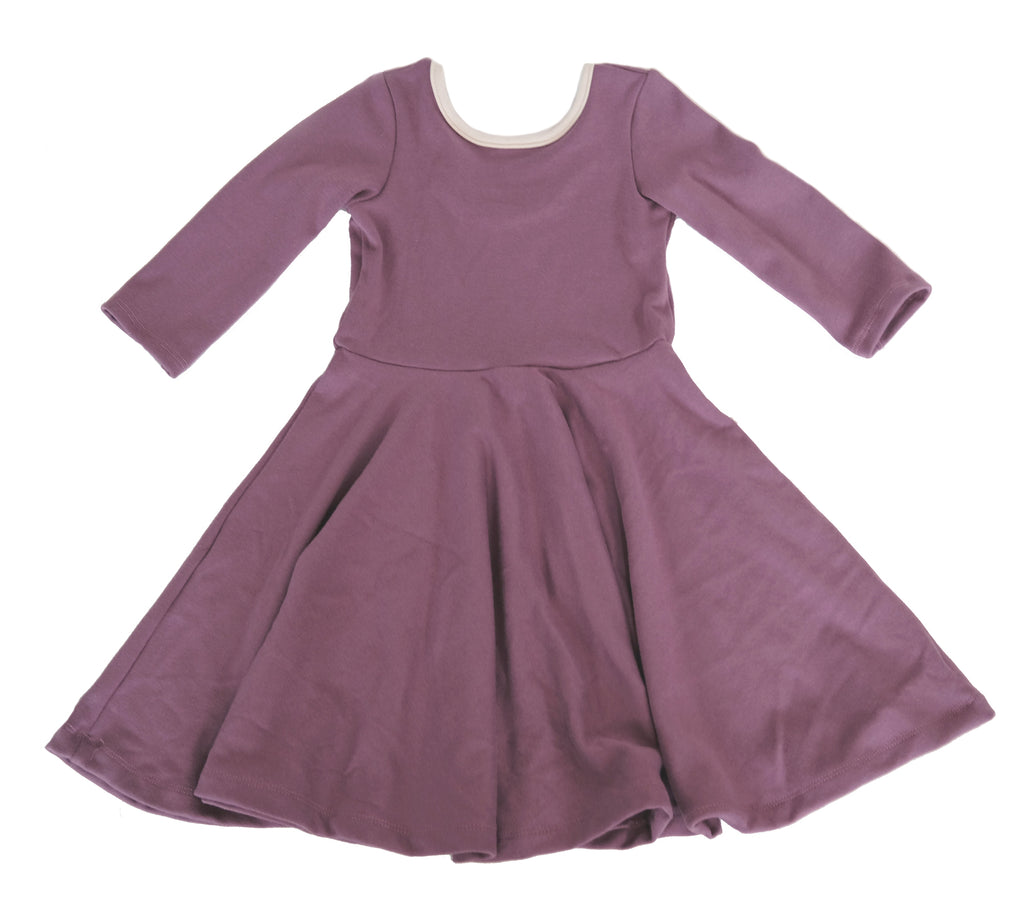 Girls kids mauve rib jersey pink fall dress toddler fashion twirl twirling spin circle handmade