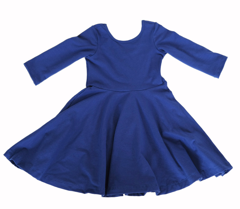 Girls kids Royal Blue fall dress toddler fashion twirl twirling spin circle handmade