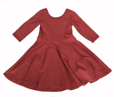 Girls kids Rust Orange fall dress toddler fashion twirl twirling spin circle handmade