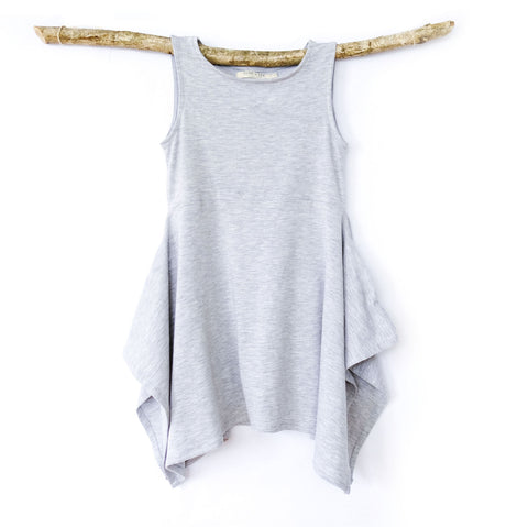 Handkerchief Dress in Heather Grey - OLIVE + LOU