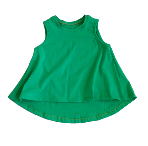 Grass green Swing Tank Top girls toddler baby shirt sleeveless  handmade flowy boho summer jersey Clothing