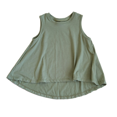 Olive green Swing Tank Top girls toddler baby shirt sleeveless  handmade flowy boho summer jersey Clothing