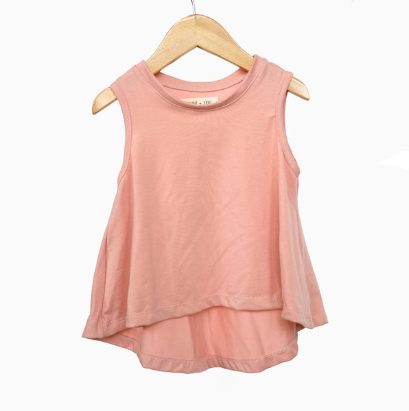 Pink Peach Swing Tank Top girls toddler baby shirt sleeveless  handmade flowy boho summer jersey Clothing