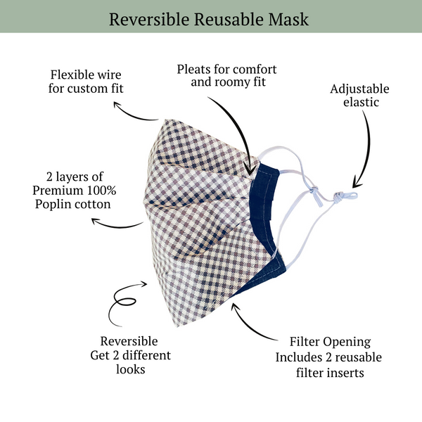 Reversible Mask - Sienna + Denim - OLIVE + LOU