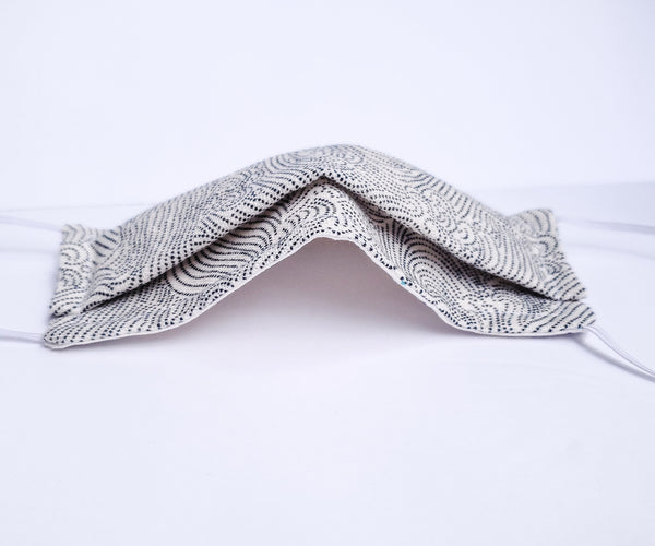 Origami Mask - Japanese Dotted Waves Ivory