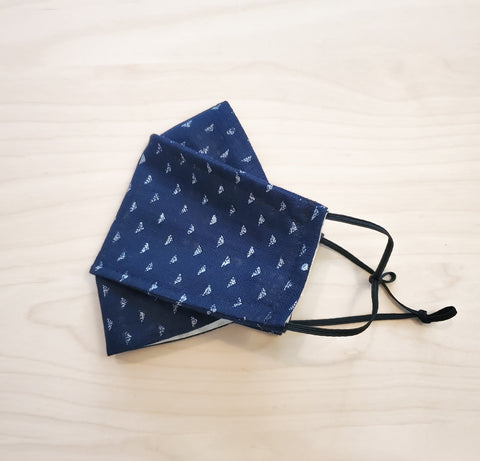 Origami Mask - Japanese Triangles in Indigo Blue