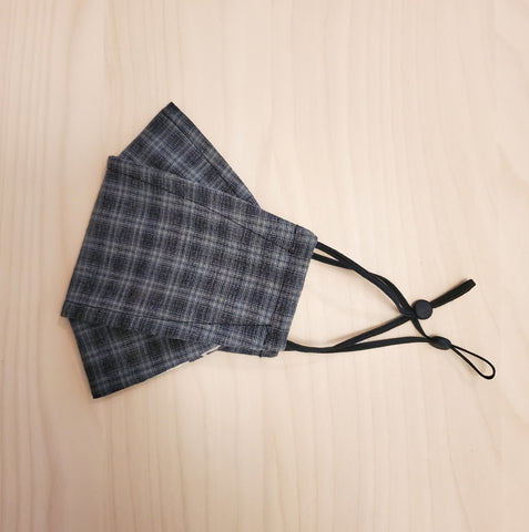 Origami Mask - Japanese Yarn Dyed Plaid in Blue/Grey