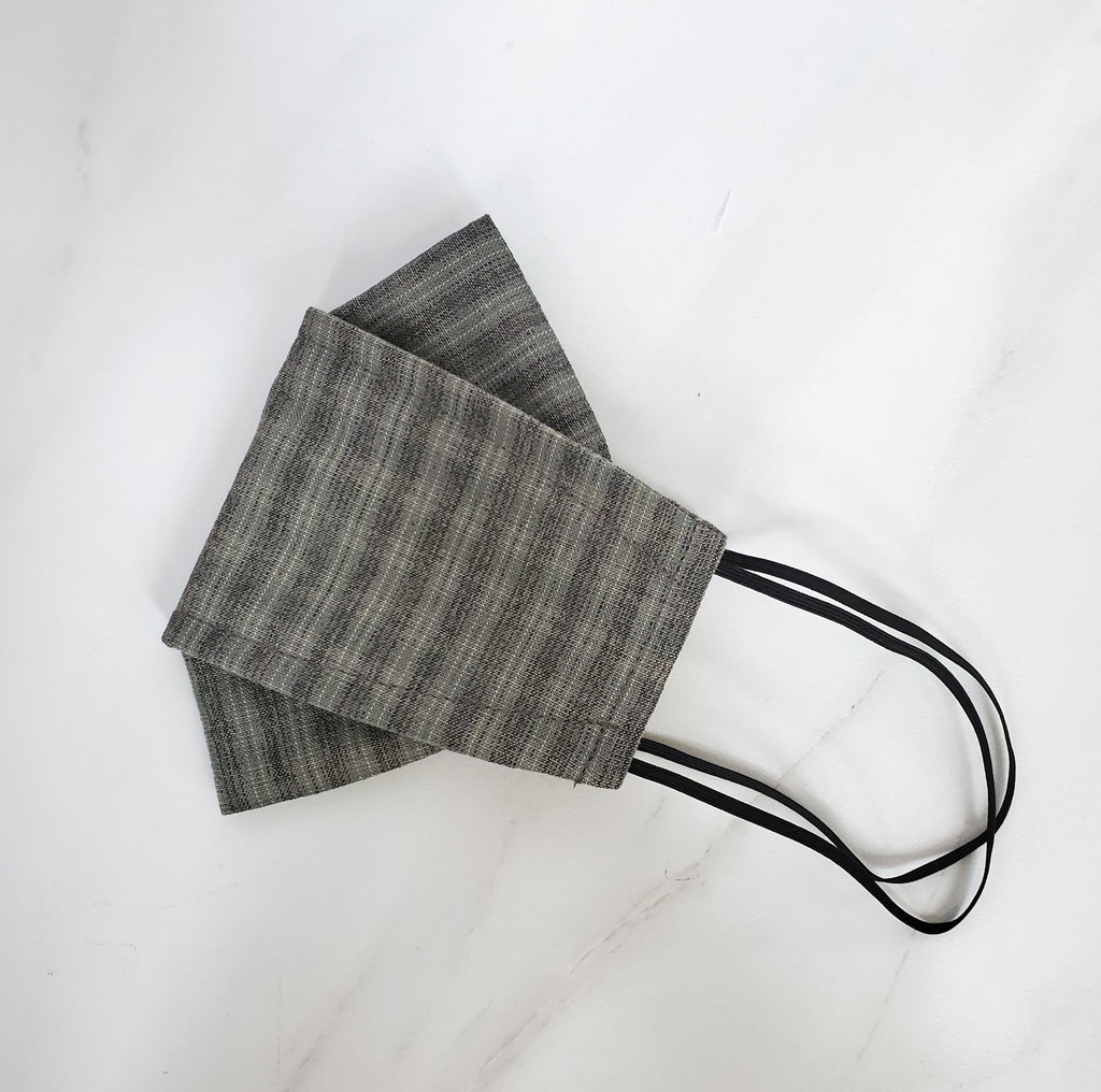 Origami Mask - Japanese Yarn Dyed Plaid in Gray / Green