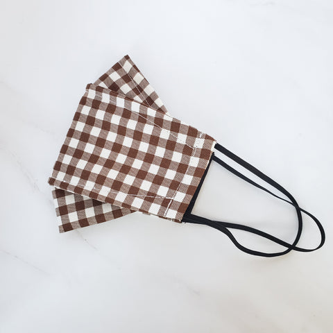 SALE! Origami Mask - Japanese Brown Check