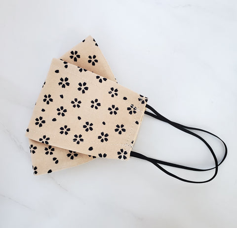 Origami Mask - Japanese Black Petals / Natural