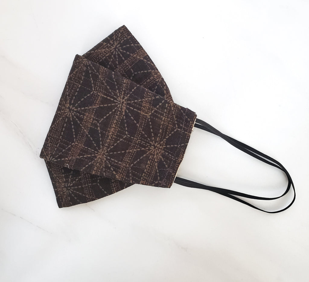 Origami Mask - Japanese Large Asanoha Star in Brown