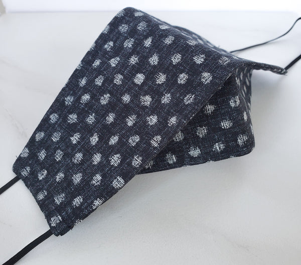 Origami Mask - Japanese Dobby Dots in Almost Black
