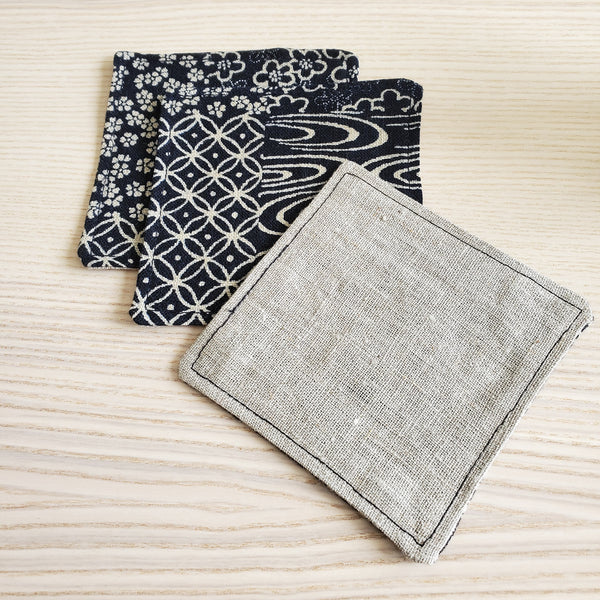 Japanese Cloth Coasters in Indigo Patchwork